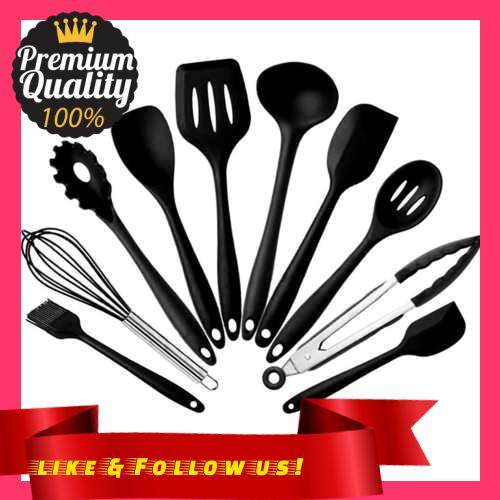 People\'s Choice Silicone kitchenware 10-piece non-stick cookware silicone kitchenware package Black ten piece set with box (Black)