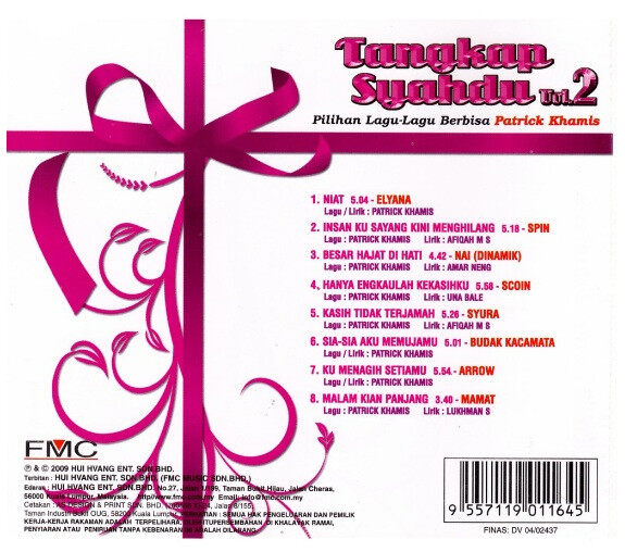 Tangkap Syahdu Vol.2 CD Digitally Remastered Elyana Spin Dinamik Syura Scoin Budak Kacamata Arrow Mamat