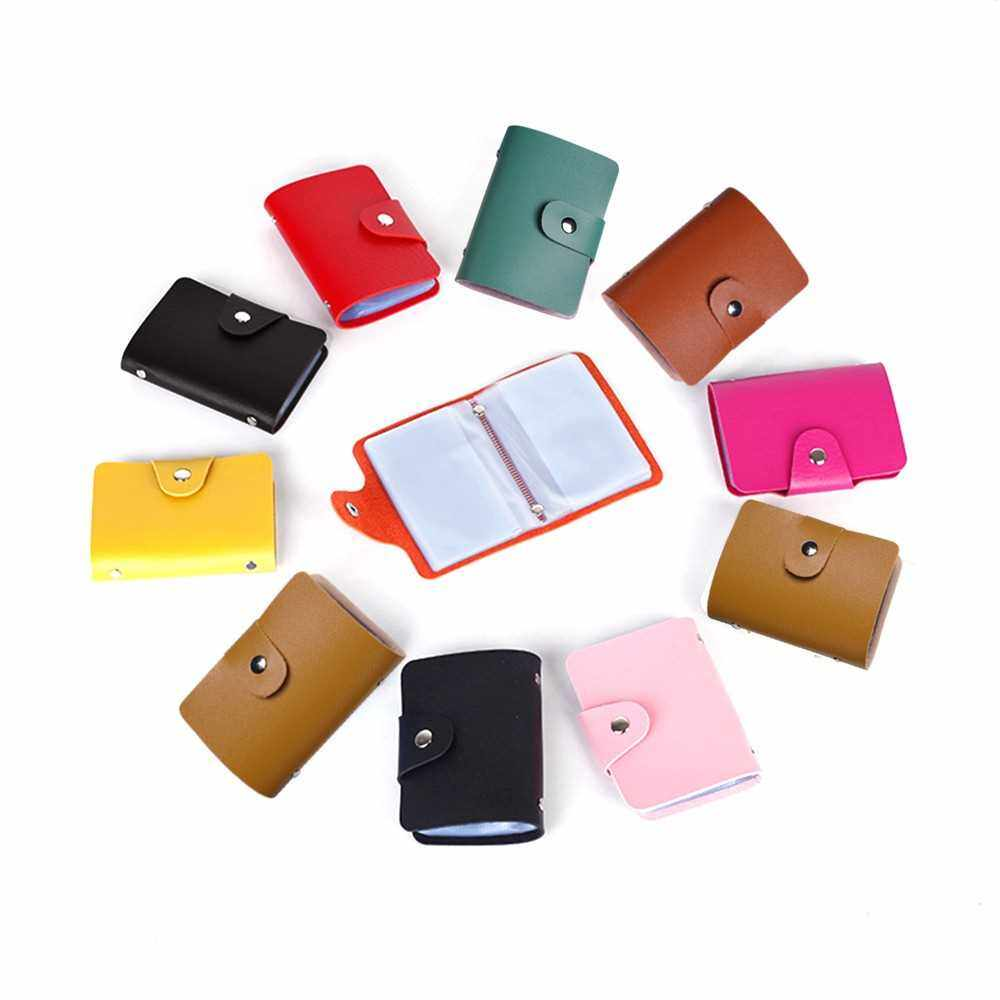 Fashion Women Men Card Holder Organizer 24 Card Slots PU Leather Business ID Credit Card Case (Rose Red)