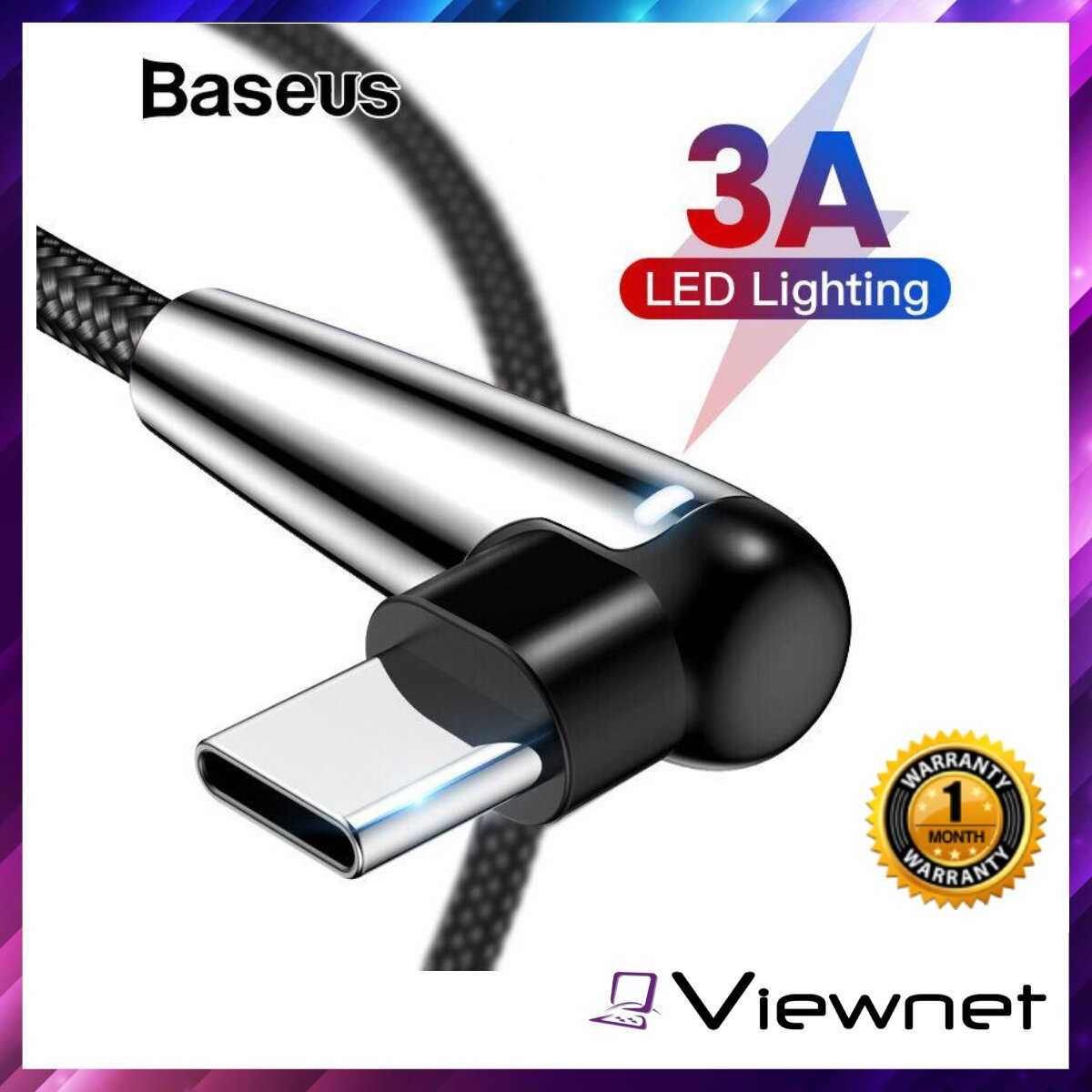 Baseus MVP 1M Type-C Game Cable (CATMVP-D01), 3A Fast Charging, Nylon Braided Wire, 480 Mbps Transmission Speed
