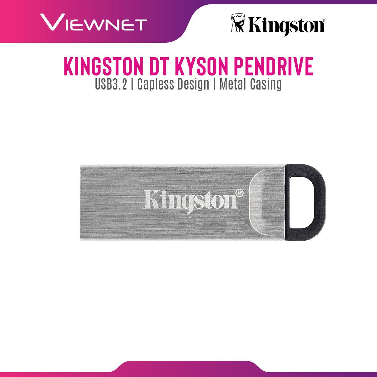 Kingston DataTraveler Kyson USB Pendrive (32GB / 64GB / 128GB / 256GB) with USB 3.2 Connection, Capless Design, Metal Casing, Strap Hole