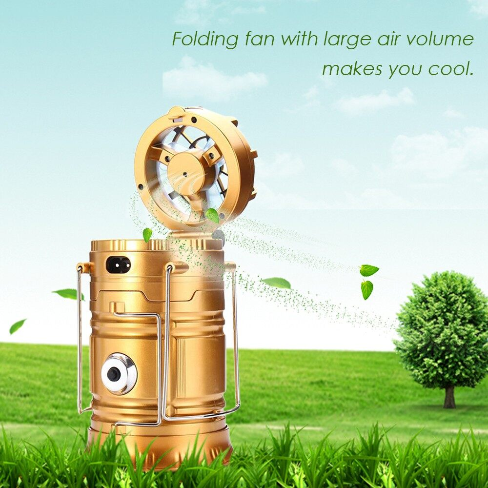Lighting - 3 In 1 Multi-function Solar Rechargeable Fan LED Hiking Light Table Lamp Outdo - Home & Living