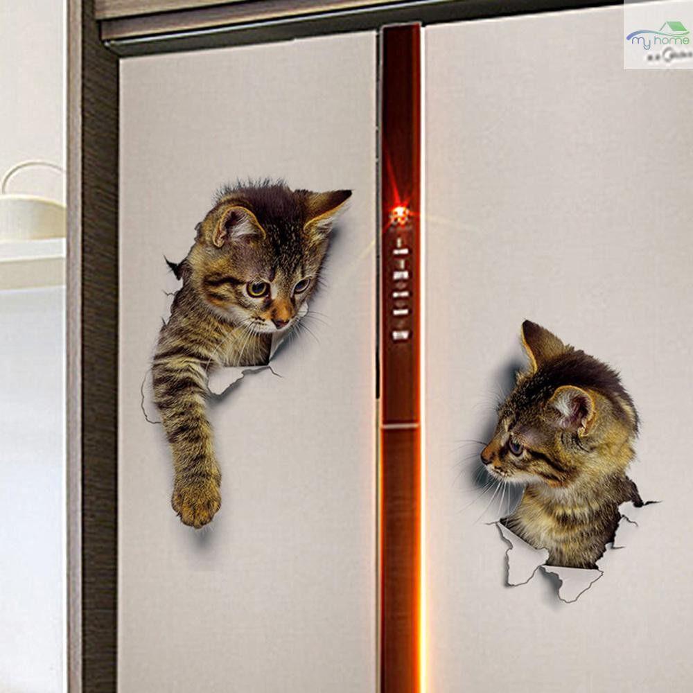 Mirrors & Wall Art - Super Cute Vivid 3D Cat Wall Sticker Toilet Clo SET Waterproof Removable Kid Room Decoration - 6 / 4 / 3 / 2 / 1