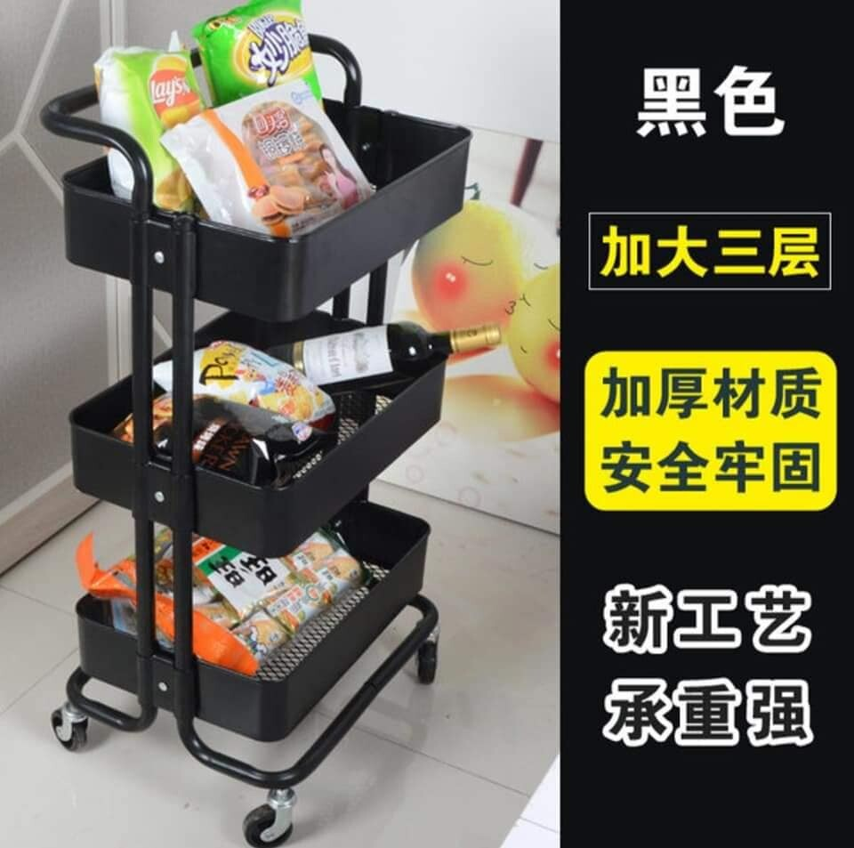 Bestseller Removable Shelves Mobile Kitchen Bathroom Trolley with Wheels 3 Tiers Movable Rack