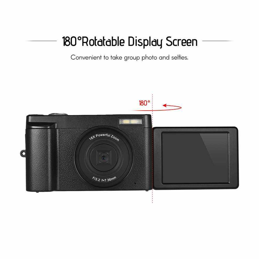Full HD 1080P 24MP Portable Digital Camera DC with 3 Inch Screen Photo & Video Shooting Support 16X Digital Zoom Wifi Connection Multiple Languages Face Detection Anti-shake Beauty Function with Ultra Wide Angle Lens 2 Batteries (Black)