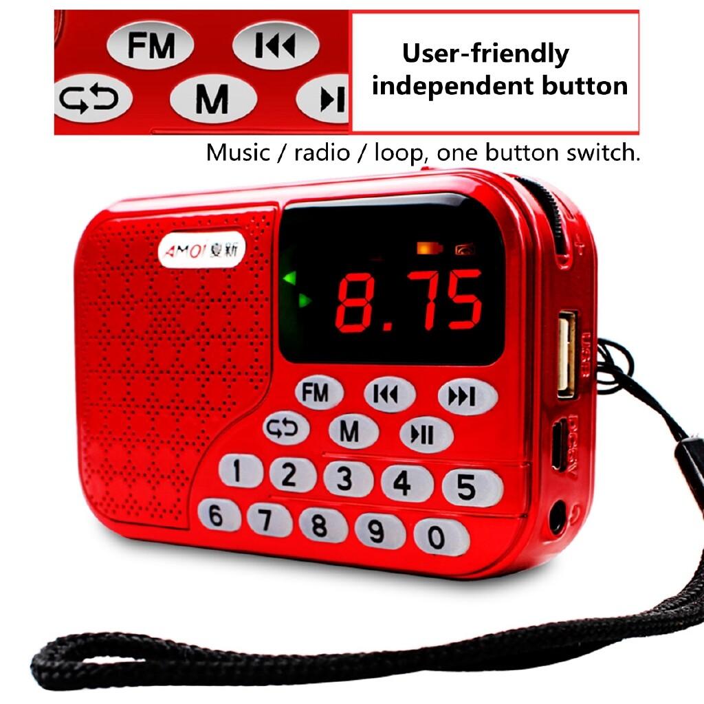 Radios - PORTABLE MINI LED Digital FM Radio Speaker USB Micro TF Card Mp3 Music Player - BLUE / RED
