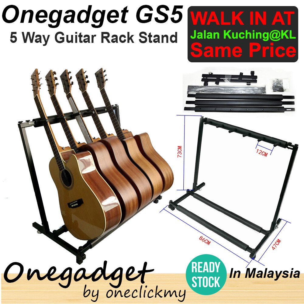 [?READY STOCK?]Onegadget GS5 5 Way Multi Guitar Rack Stand Metal Padded Foam Stylish Fits Tidy Storage Display