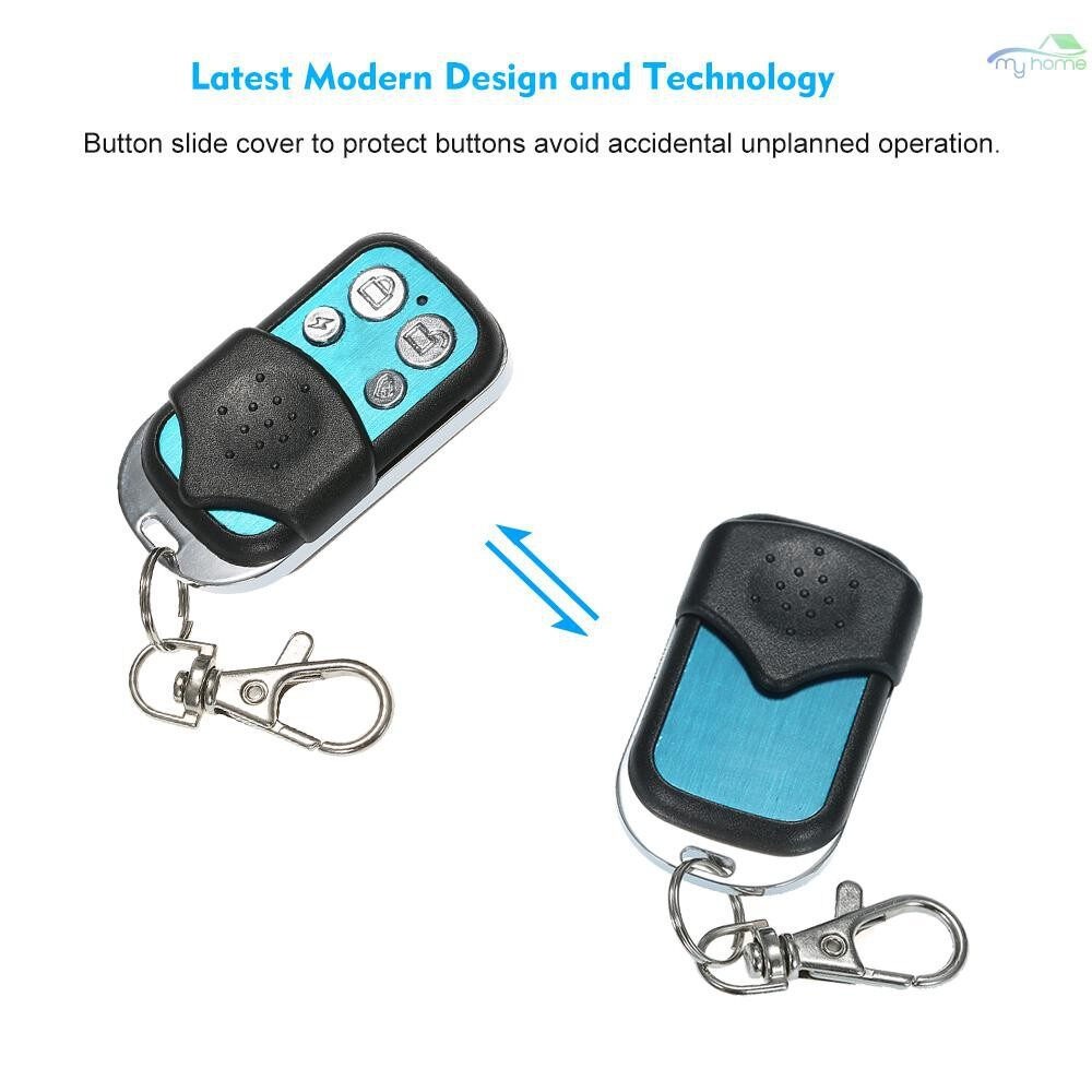 Sensors & Alarms - 433MHz WIRELESS Metal Remote Controller with Keychain with Arm/Disarm/Home Arm/SOS 4 Buttons Remote - BLACK