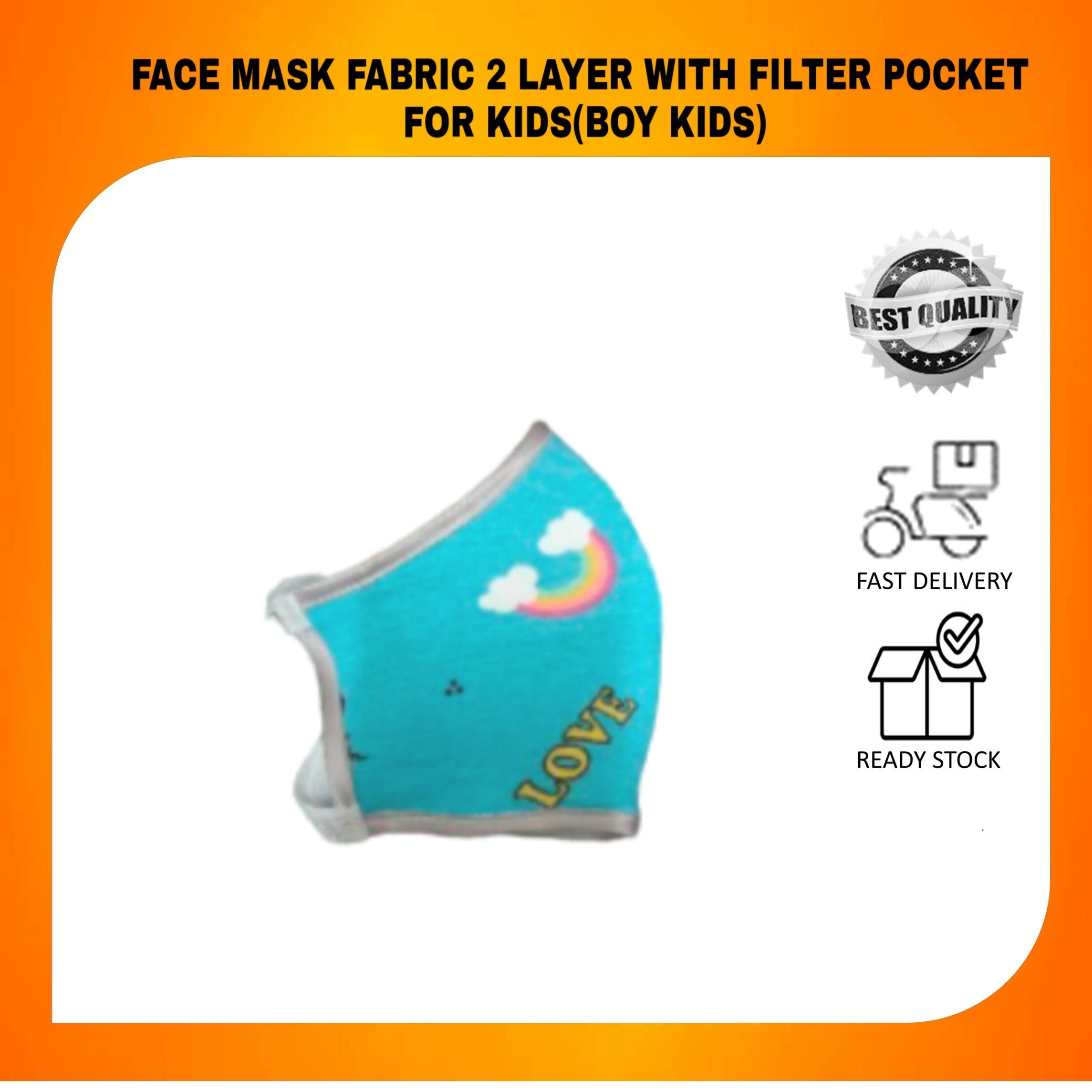HOT FABRIC TRENDING MASK 2 LAYER WITH FILTER POCKET FOR KIDS Boys