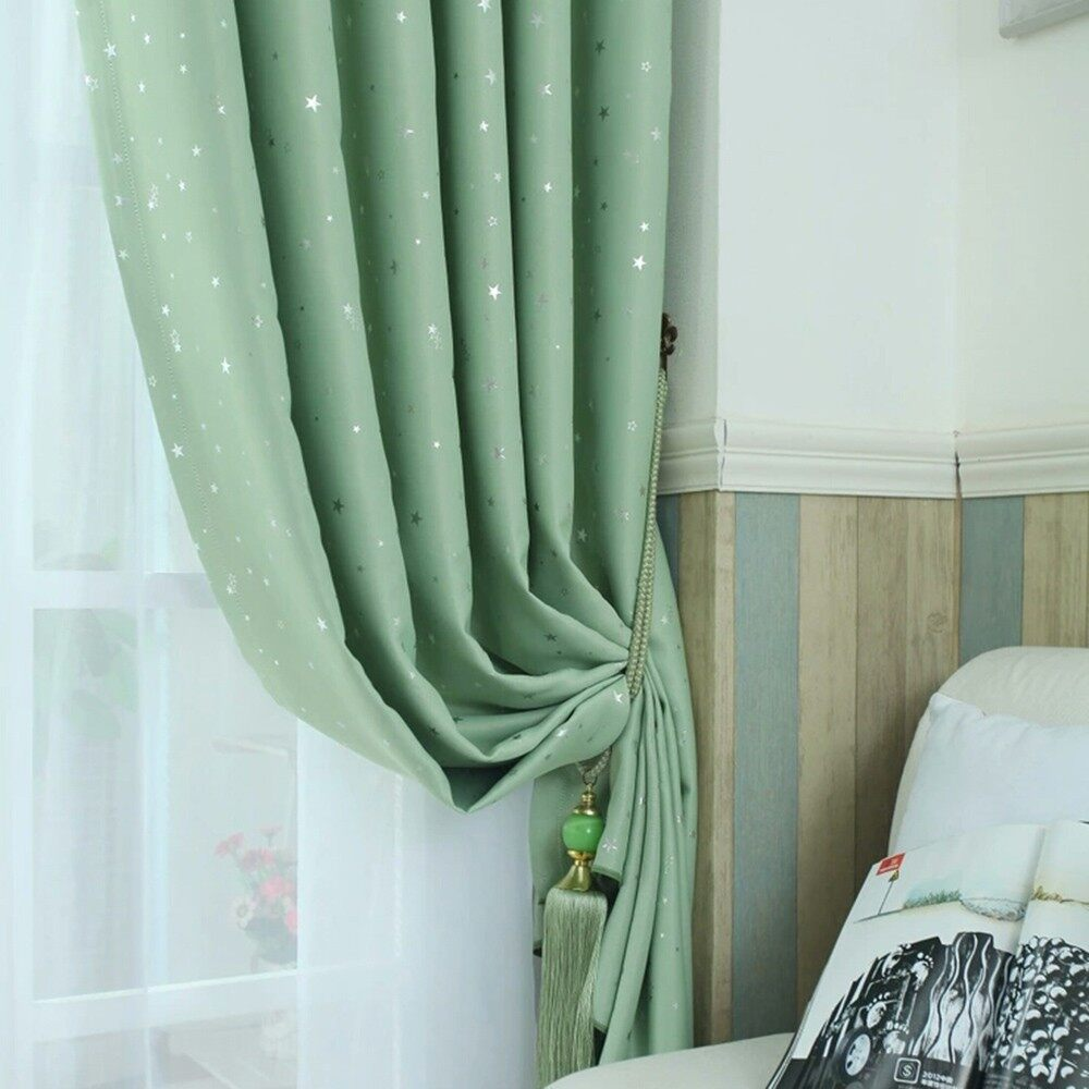 Curtains & Blinds - Door Window Panel Divider Room Star Curtain Decorative - NAVY BLUE-100CMX250 / BEIGE-100CMX250 / SKY BLUE-100CMX250 / PINK-100CMX250 / GREEN-100CMX250 / GREEN-100CMX130 / PINK-100CMX130 / SKY BLUE-100CMX130 / BEIGE-100CMX130 / NAV
