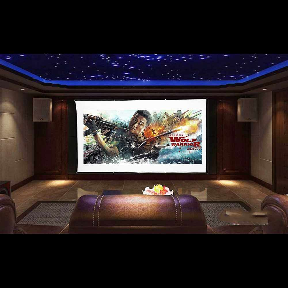 H120 120'' Portable Projector Screen HD 16:9 White 120 Inch Diagonal Projection Screen Foldable Home Theater for Wall Projection Indoors Outdoors (Standard)