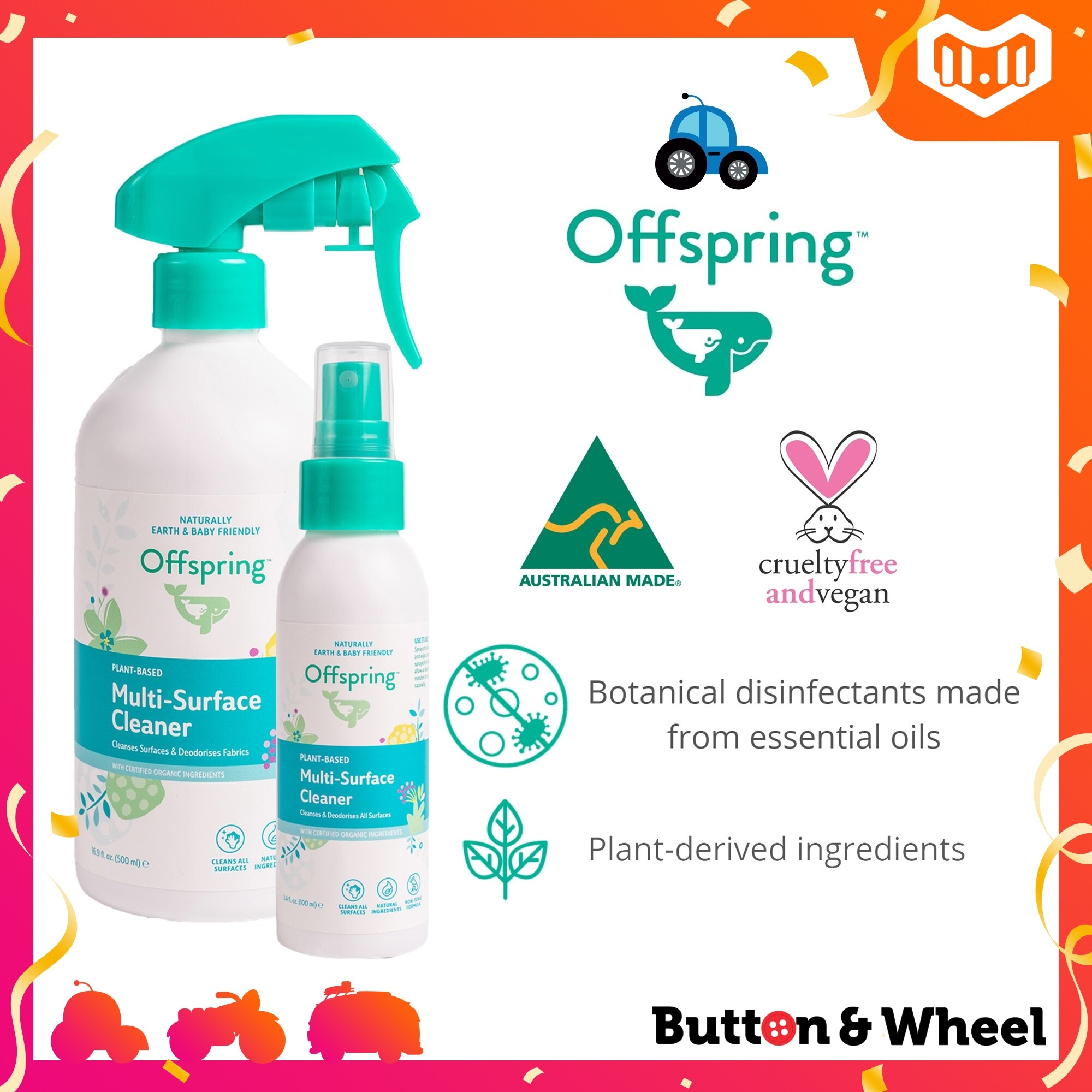 Offspring Natural Multi-surface Cleaner (100ml/500ml) (Expiry Date: 11/2022):OI-HH-MSC-500ML