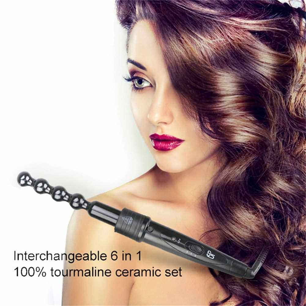 Best Selling 6-in-1 Curling Iron Kit Curling Wand Set with 6 Interchangeable Ceramic Barrels & Heat Resistant Glove 2 Temperature Setting Hair Curlers Styling Tools (Alw2499315)