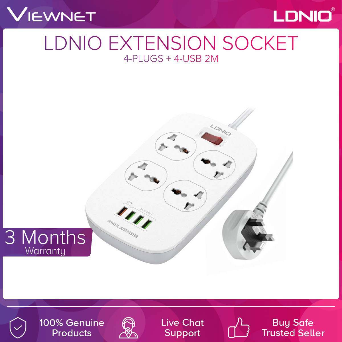 Ldnio Extension Socket 4-Plugs + 4-Usb 2M (SC4407Q)