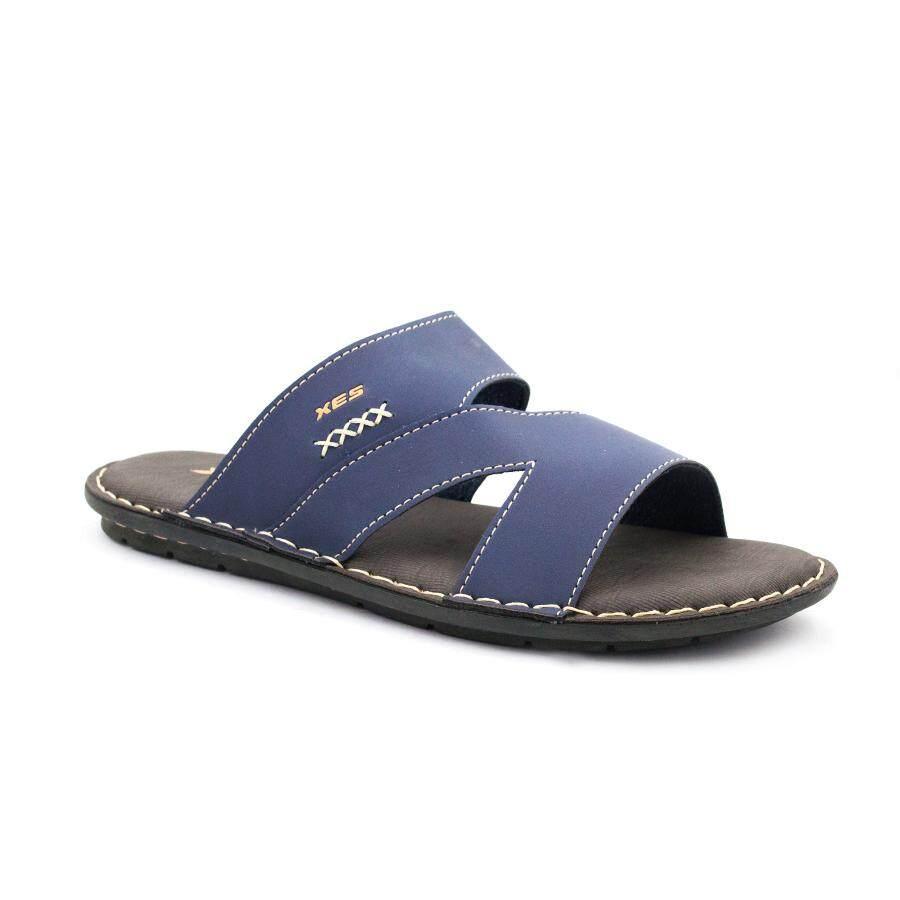 XES Men MM20523 Casual Cross-stitch Comfort Sandal-Camel/Navy blue