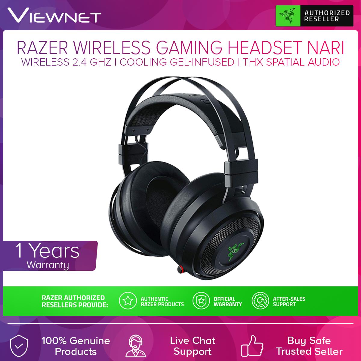 Razer Nari Wireless Gaming Headset (RZ04-02680100-R3M1), THX Spatial Audio, Razer Chroma, Cooling Gel-Infused Cushions, 2.4GHz Wireless Audio