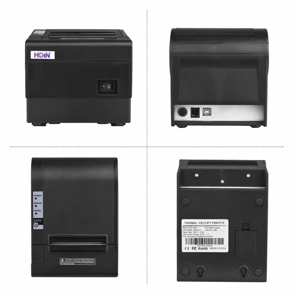 HOIN 80mm USB Thermal Receipt POS Printer Auto Cutter High Speed Printer Clear Printing Compatible with ESC/POS Print Commands for Supermarket Store Home Business (Uk)