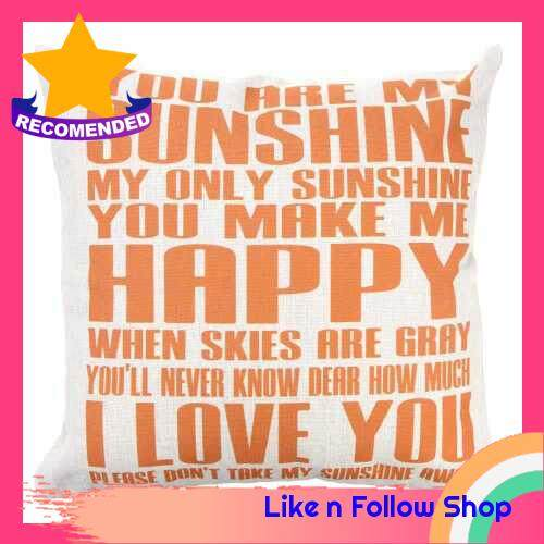 You Are My Sunshine Cotton and Linen Pillowcase Back Cushion Cover Throw Pillow Case for Bed Sofa Car Home Decorative Decor