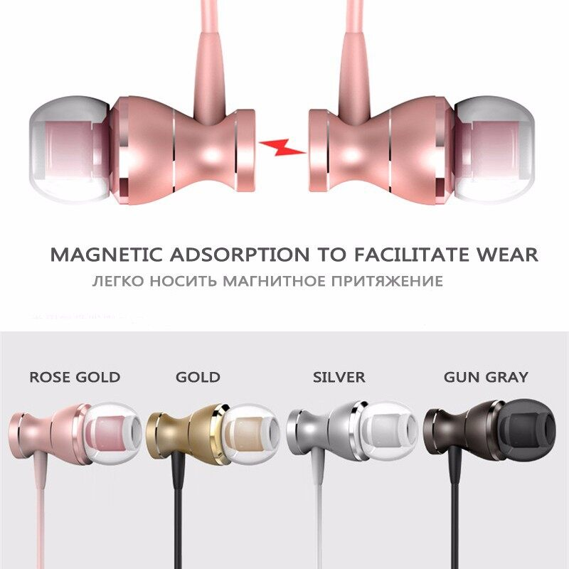 5D Stereo Magnetic Metal Bass In-ear Earphones Wire Control with Mic for Apple Android - BLACK / ROSE GOLD / GOLD / SILVER