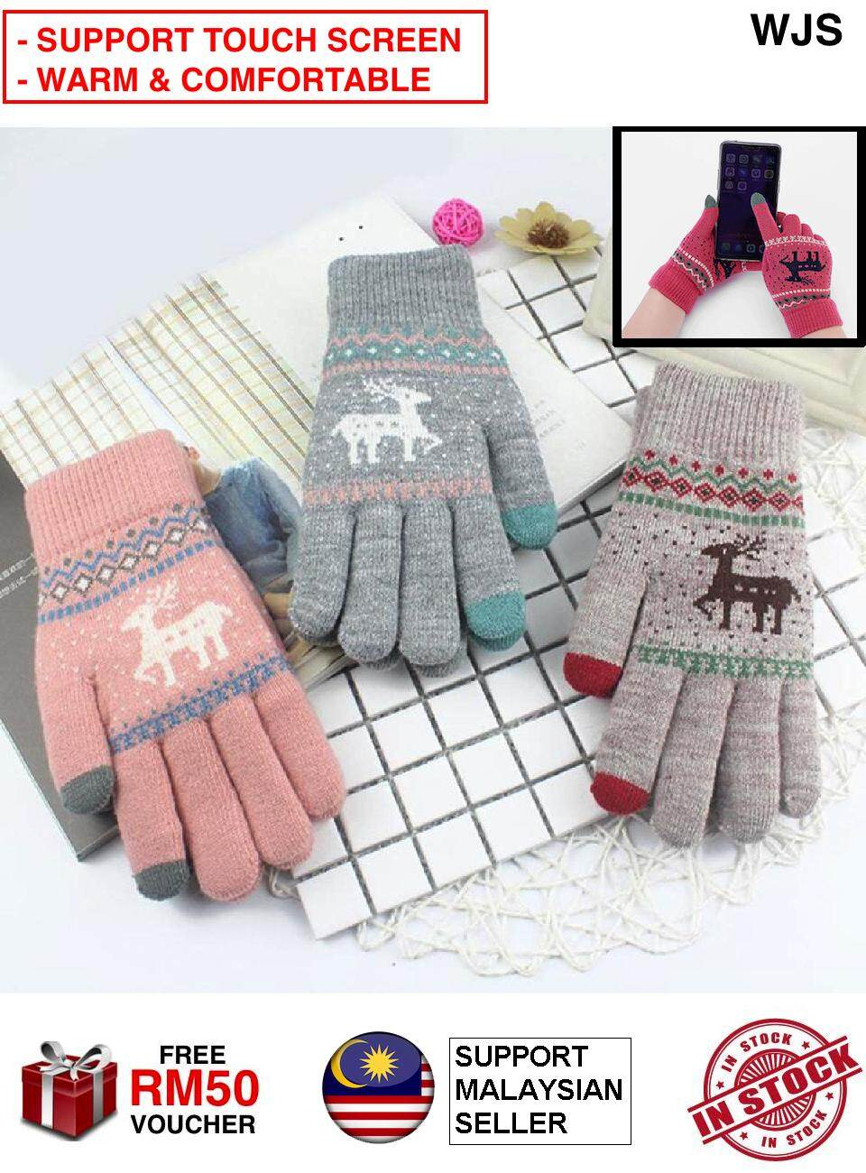 (SUPPORT TOUCH SCREEN) WJS Women Winter Reinder Christmas Deer Keep Warm Touch Screen Gloves Girl Christmas Gloves Xmas Glove Winter Gloves Fashion Gloves PINK BLUE GREY [FREE RM 50 VOUCHER]