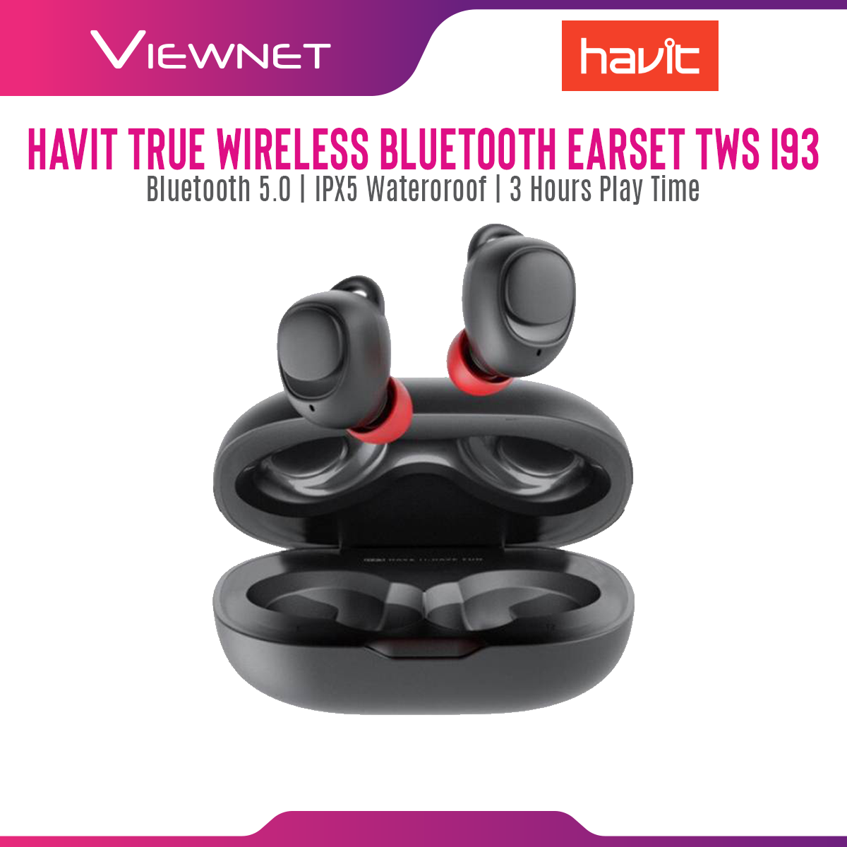 Havit I93 TWS True Wireless Stereo Earbuds IPX5 Waterproof Bluetooth V5.0 Touch Button Sport In-ear Earphone Headset with 500mAh Charging Case