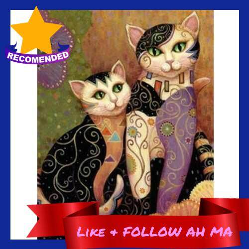Best Selling Diamond Painting Embroidery Cross Stitch Full Mosaic DIY Kit Vintage Cats Animal Rhinestone Home Decor (Purple)
