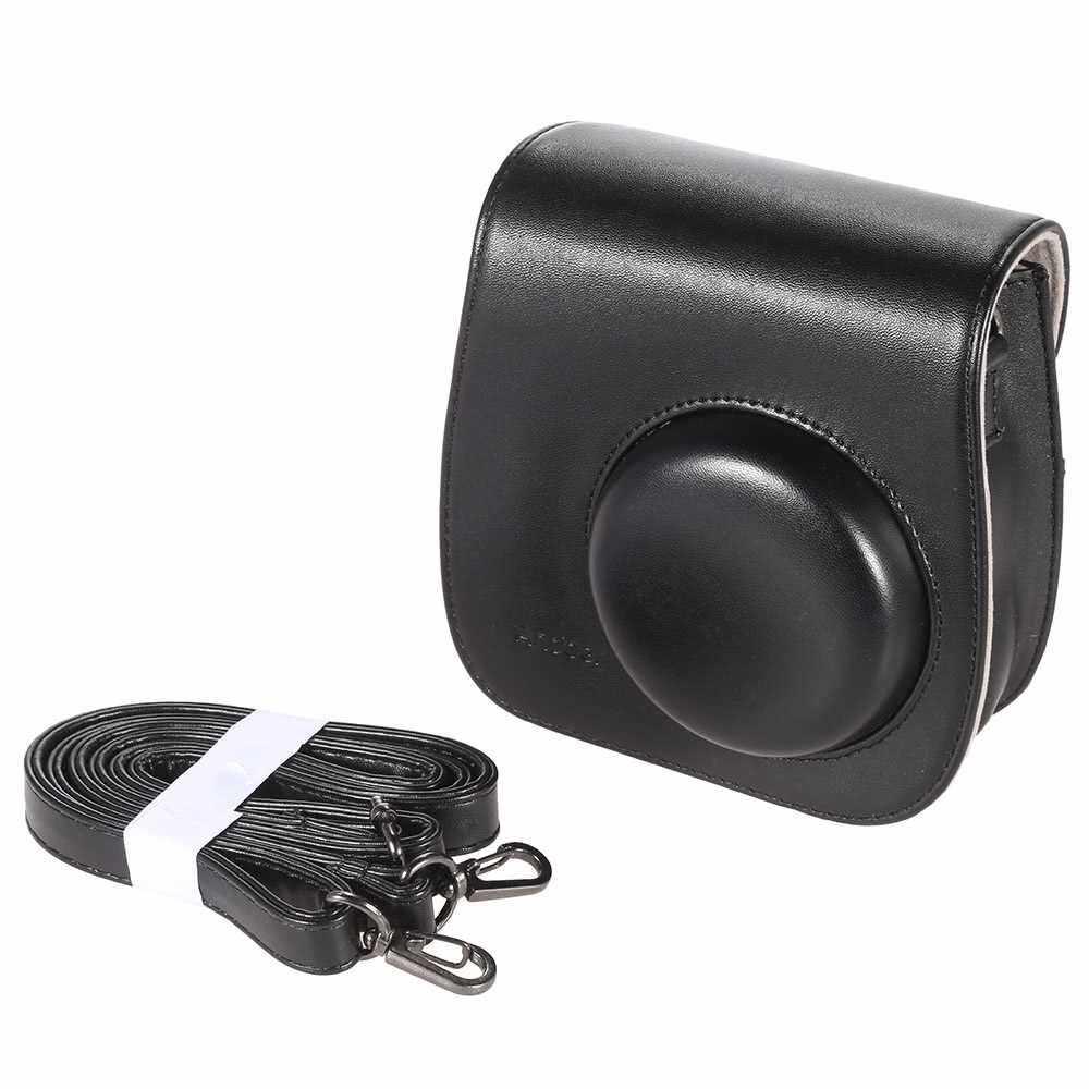 Leather Camera Case Bag Cover for Fuji Fujifilm Instax Mini8 Mini8s Single Shoulder Bag (Black)
