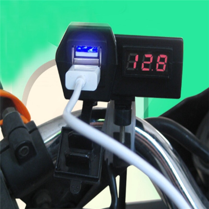 Moto Accessories - 12V/24V Waterproof Car Boat Motorcycle Dual USB Charger LED Voltmeter Socket - Motorcycles, Parts