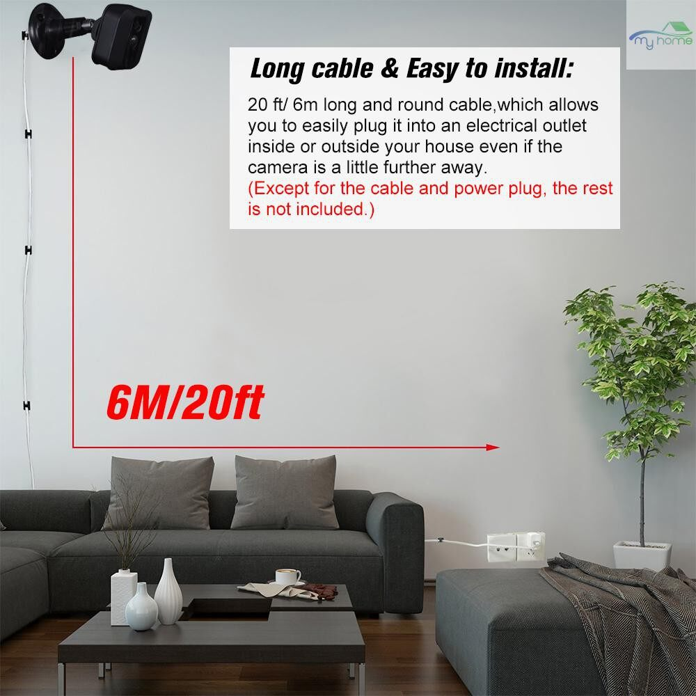Monitors - Power Adapter(5V/3A)with 20ft/6m Weatherproof Cable Compatible with Blink XT Home Camera&for Blink - WHITE-6M