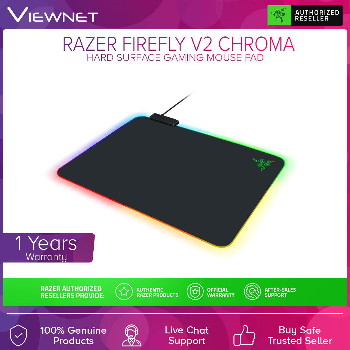 Razer Firefly v2 Chroma Hard Surface Gaming Mouse Pad (RZ02-03020100-R3M1),Razer Chroma RGB, Built-in Cable Catch, Ultra thin, Anti Slip