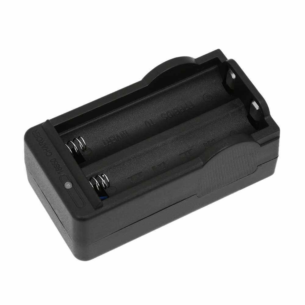 Dual-slot Battery Charger 18650 Charger Charging Box Auto-Stop Charging with LED Indicator Professional Charger (Black)
