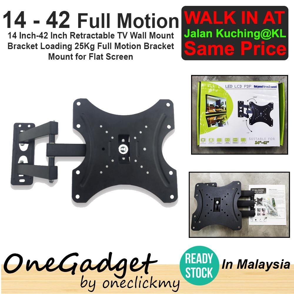 [?READY STOCK IN MALAYSIA]14 Inch-42 Inch Full Motion Retractable TV Wall Mount Bracket Loading 25Kg Bracket Mount