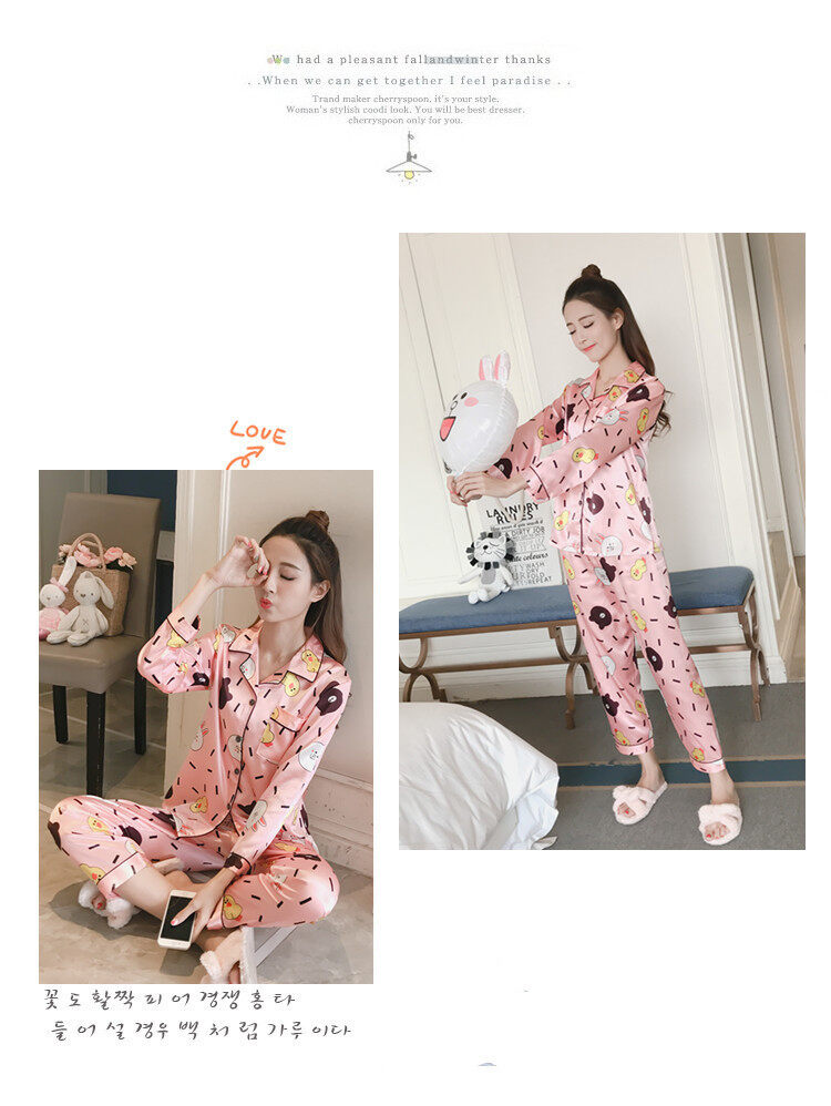 Bolster Store Ladies Women Loose Cartoon Bear Bunny Satin Blouse Long Pants Set Comfortable Night Wear Pajamas Sleepwear