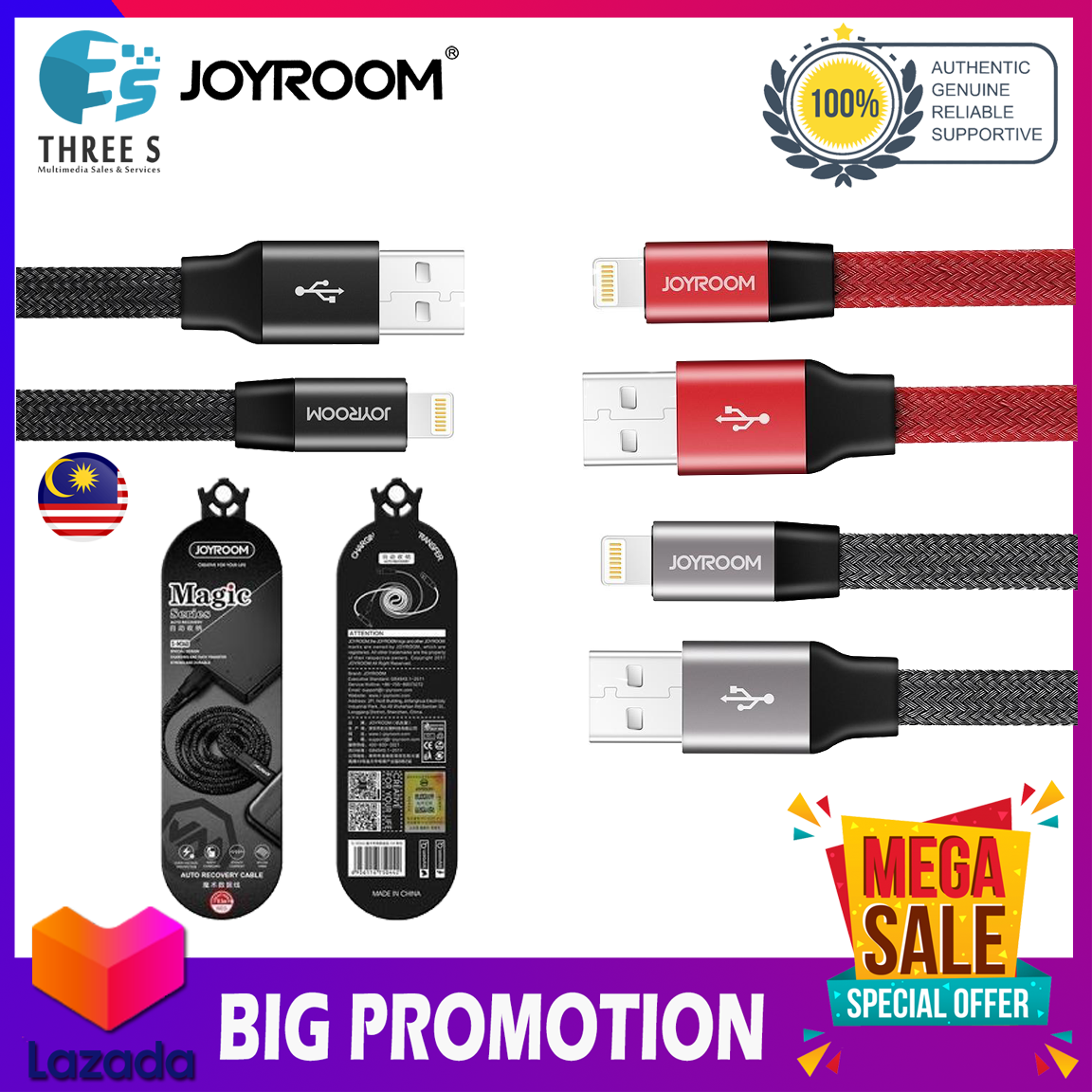JOYROOM S-M340 0.5m 8 Pin To USB Aluminium Alloy Data Sync Charging Cable For iPhone
