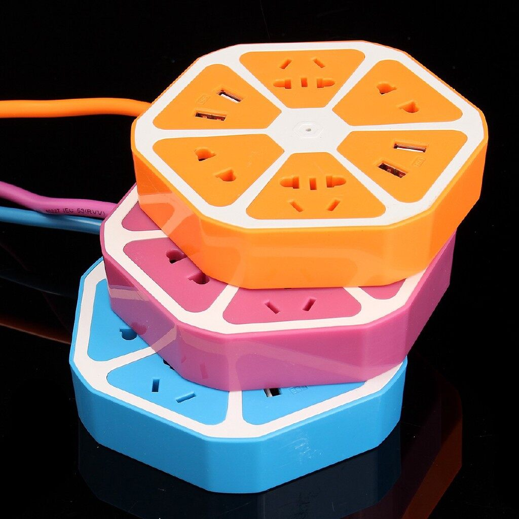 Chargers - Multi-function Outlet Power Strip Surge Protector USB Fruits Shape Socket 2000W - ORANGE / BLUE / ROSE RED / GREEN