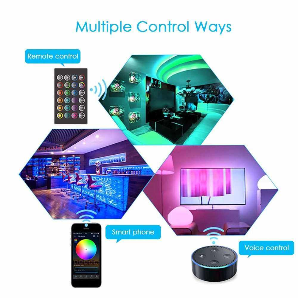 People's Choice Smart Wifi LED RGB Strip Lights IP65 Waterproof 16.4ft. 5050 Color Changing Lights with Voice & APP & 24 Keys Remote Control Tape Lights Christmas Decoration Light for Home Party Festival (Blue)