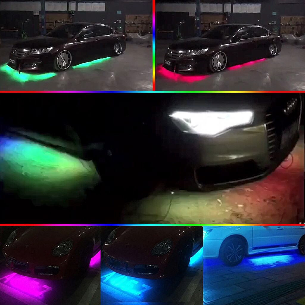 Car Lights - Flow LED Under Car Tube Strip Underglow body Light Kit Remote control RGBW - Replacement Parts