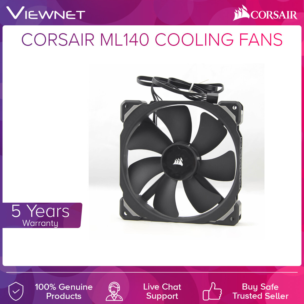 Corsair ML140 Cooling Fans Pro RGB LED 140mm PWM Premium Magnetic Levitation Fan, 400-1200 RPM, 20.4 dBA - Single Pack, Twin Pack With Lighting Node Pro
