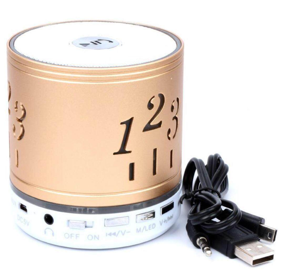 1,2,3 Mini Bluetooth Wireless Speaker FM, Memory Card, Bluetooth, USB. (High Quality Speakers) GOLD