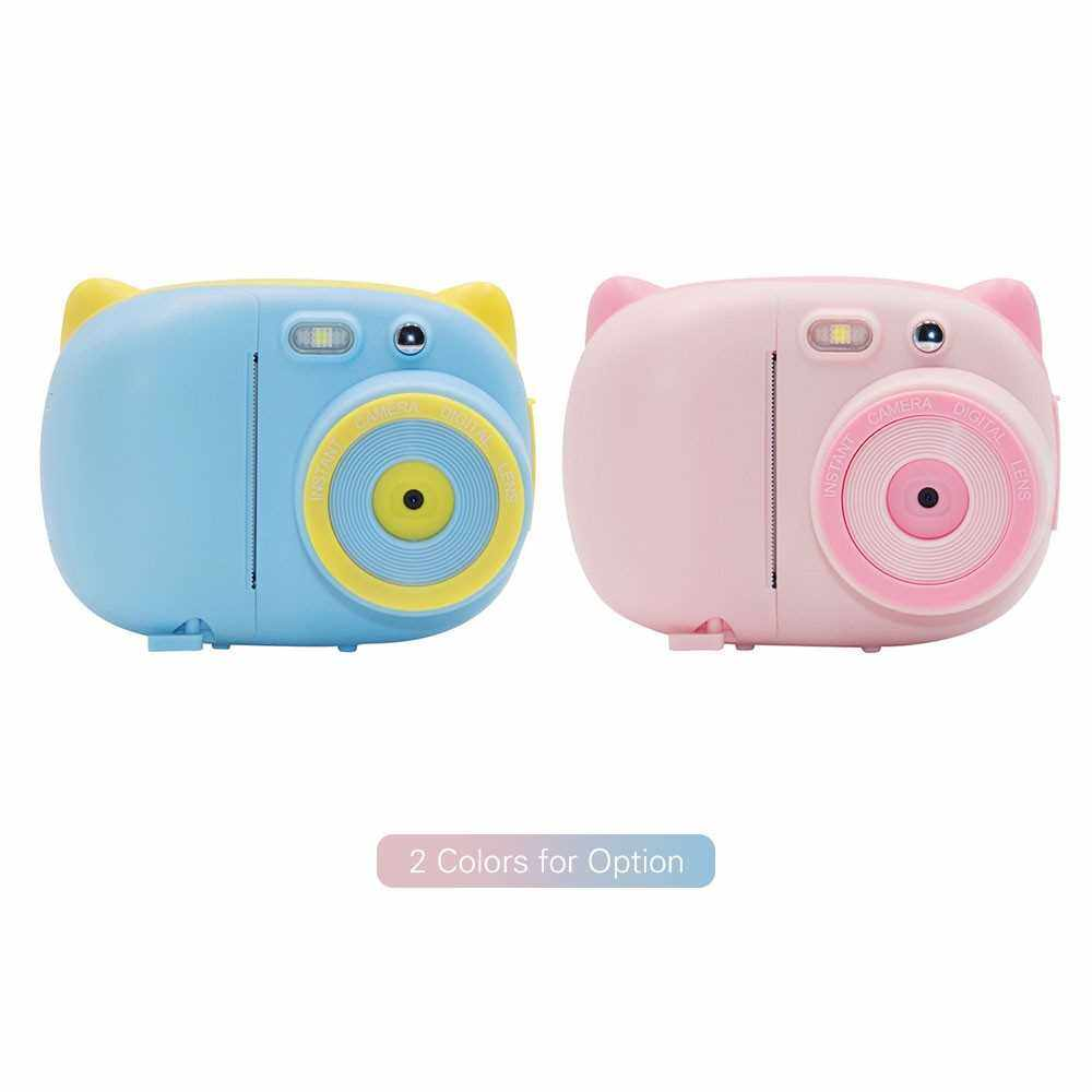 Mini Cute Cartoon Children Video Camera Camcorder Photo Printing 15 Mega Pixels 1080P with 2.4 Inch TFT IPS Screen Flash Mode Support WiFi Connection Instant Printing Sharing Gifts for Children Kids Students (Pink)