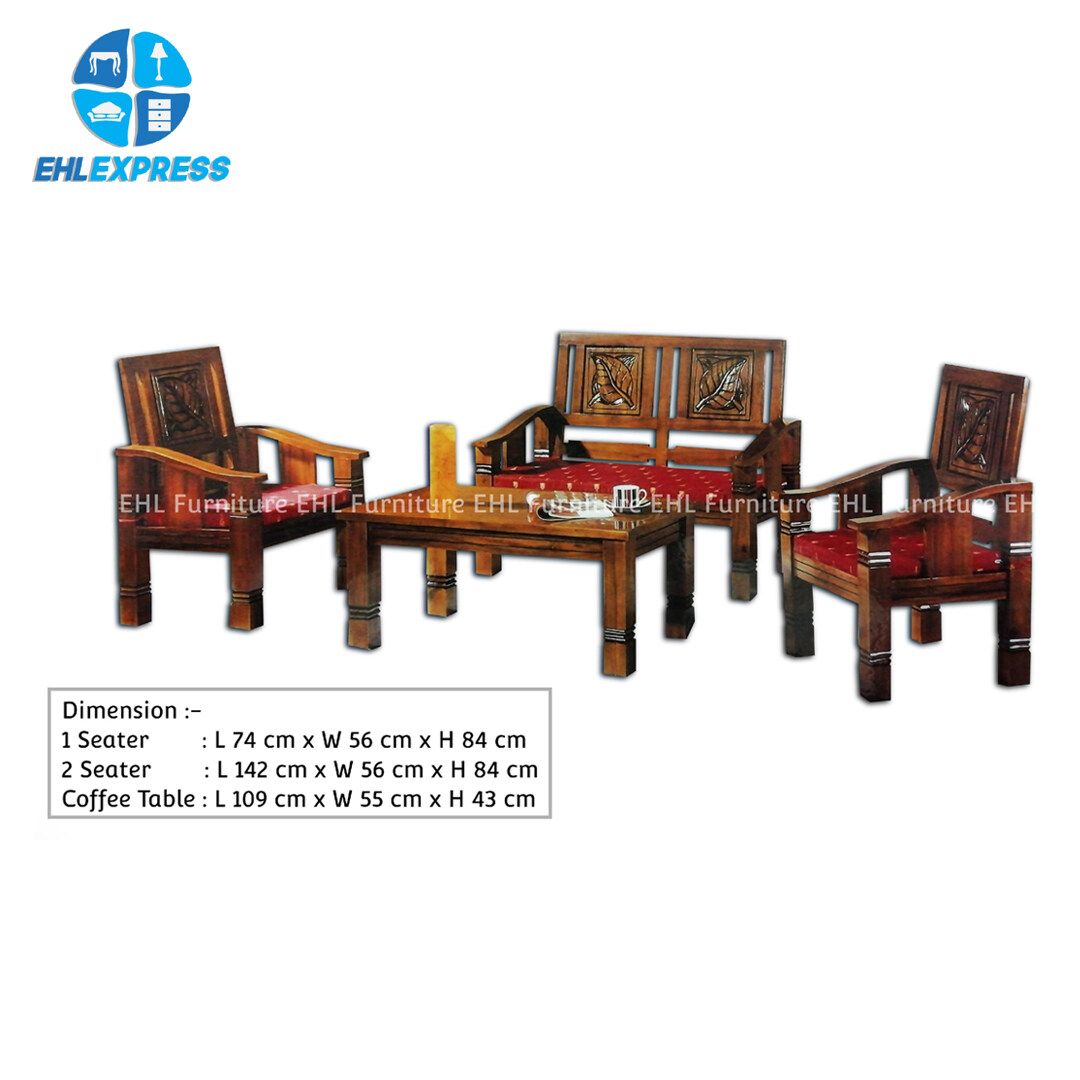 EHL EXPRESS JATI / TEAK WOOD WT1 Mini malis 1+1+2 seater FREE 1 solid wood coffee table - FREE INSTALLATION / DELIVERY TO PENINSULAR