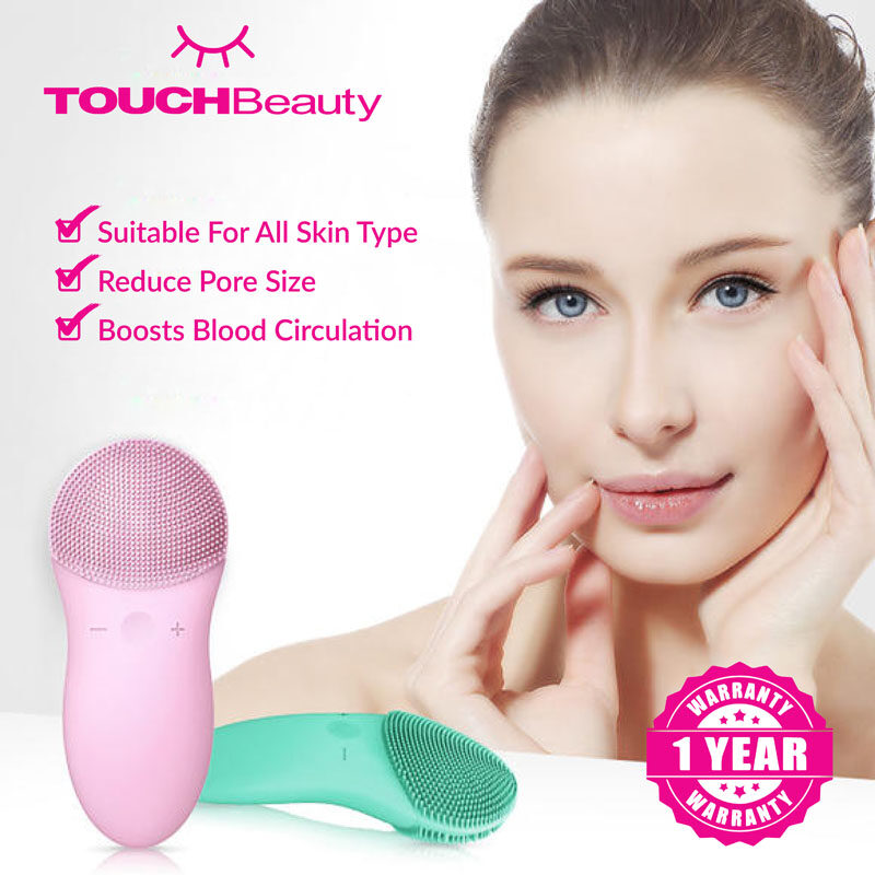 TOUCHBeauty Facial Cleanser Machine TB-1788 Silicon Facial Cleanser /Facial Cleansing Brush Silicone Face Cleaner Electric Cleanser Cleaning Brush Machine/ Skin Care Beauty Tool /Skin-friendly soft Silicon brush/