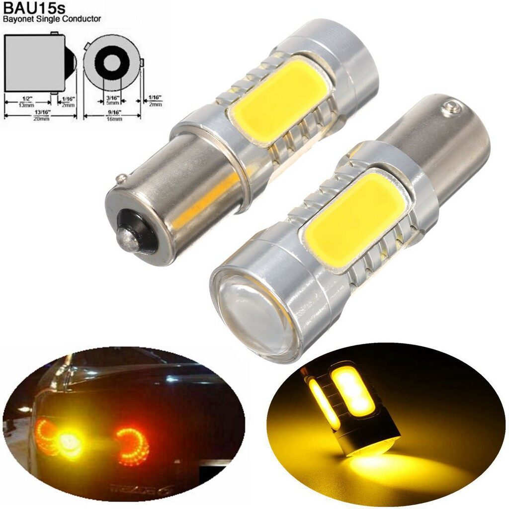 Engine Parts - 2 PIECE(s) 1156PY BAU15S PY21W 7.5W LED COB Turn Signal Indicator Light Amber Bulb 12V - Car Replacement