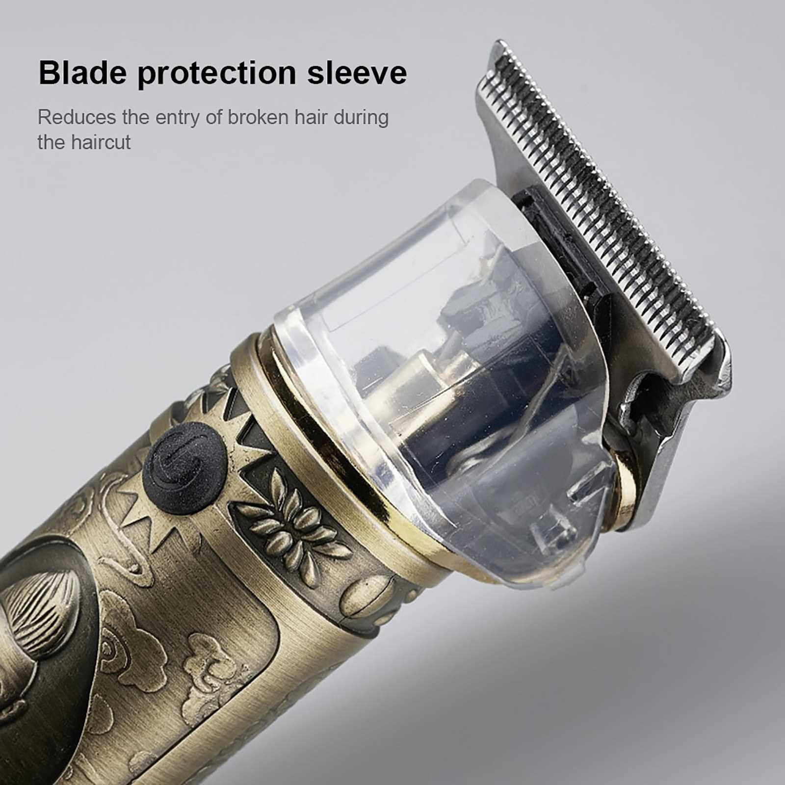 Hair Clipper Barber Hair Clippers Electric Multifunctional Household Set Hair Salon Dedicated Push USB Charging (Gold)