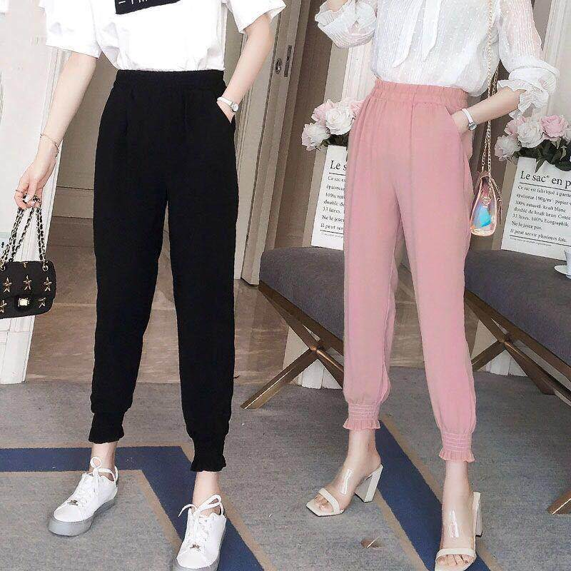Plus Size Bolster Store Korean Ladies Chiffon Women Pants Casual Harem Drawstring Elastic Waist Comfortable Trousers Seluar Panjang #1000