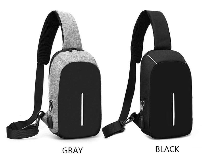 Men Cross-body Bag USB charging Earphone line out Clever bag Multi-function