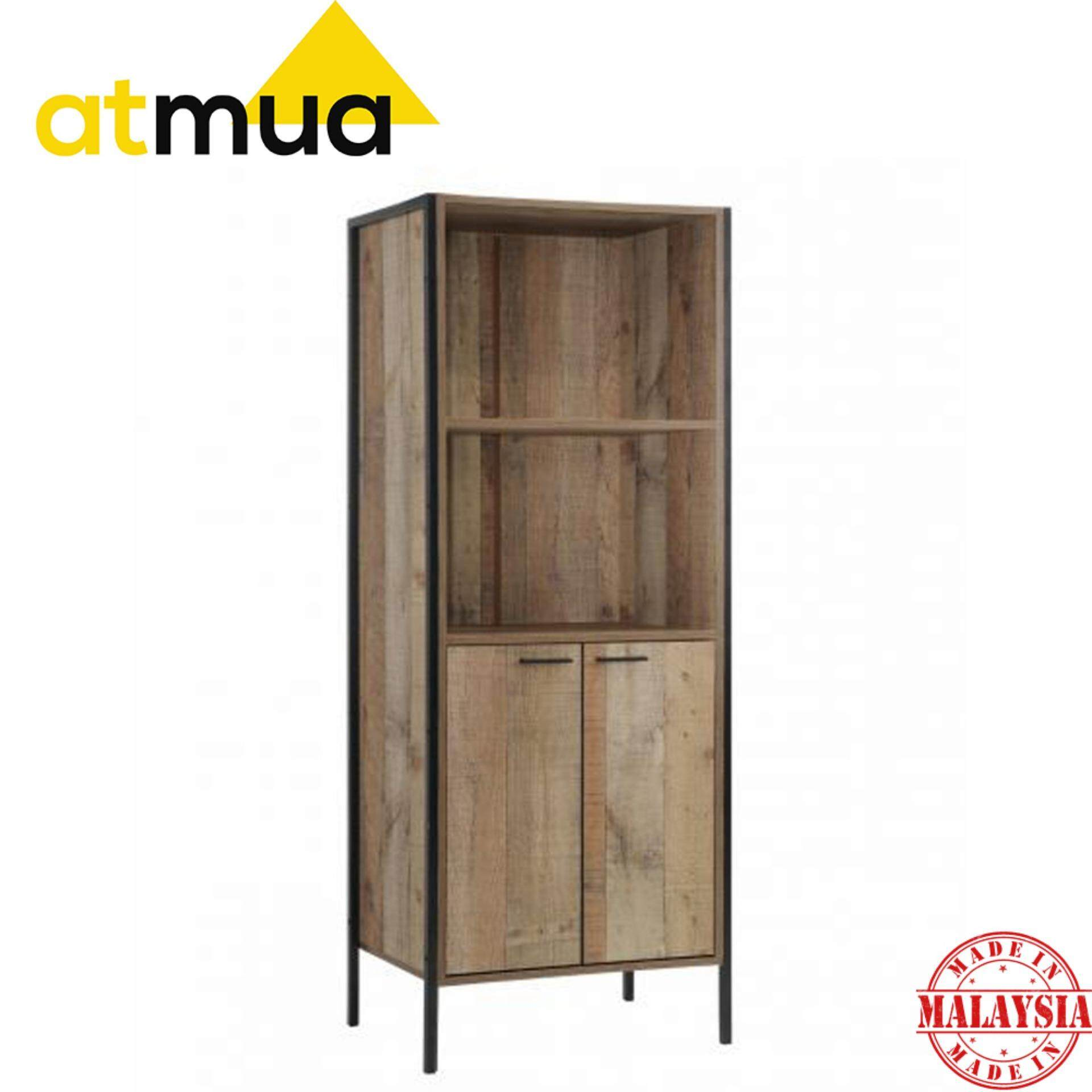 Atmua Crude Wood Design with Metal Leg -Bookcase [High Quality Particle Board]