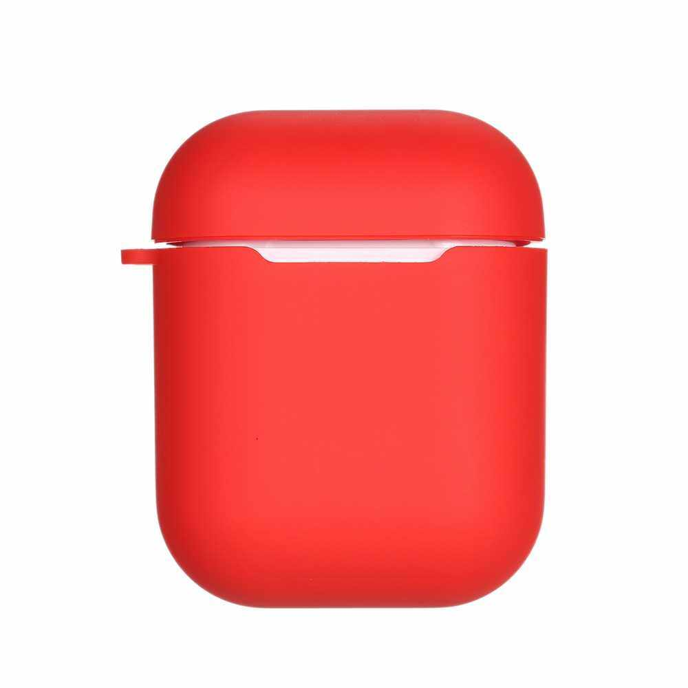 QI Wireless Charging Box Anti-Knock Silicone Protective Cover for Air Pods Red (Red)