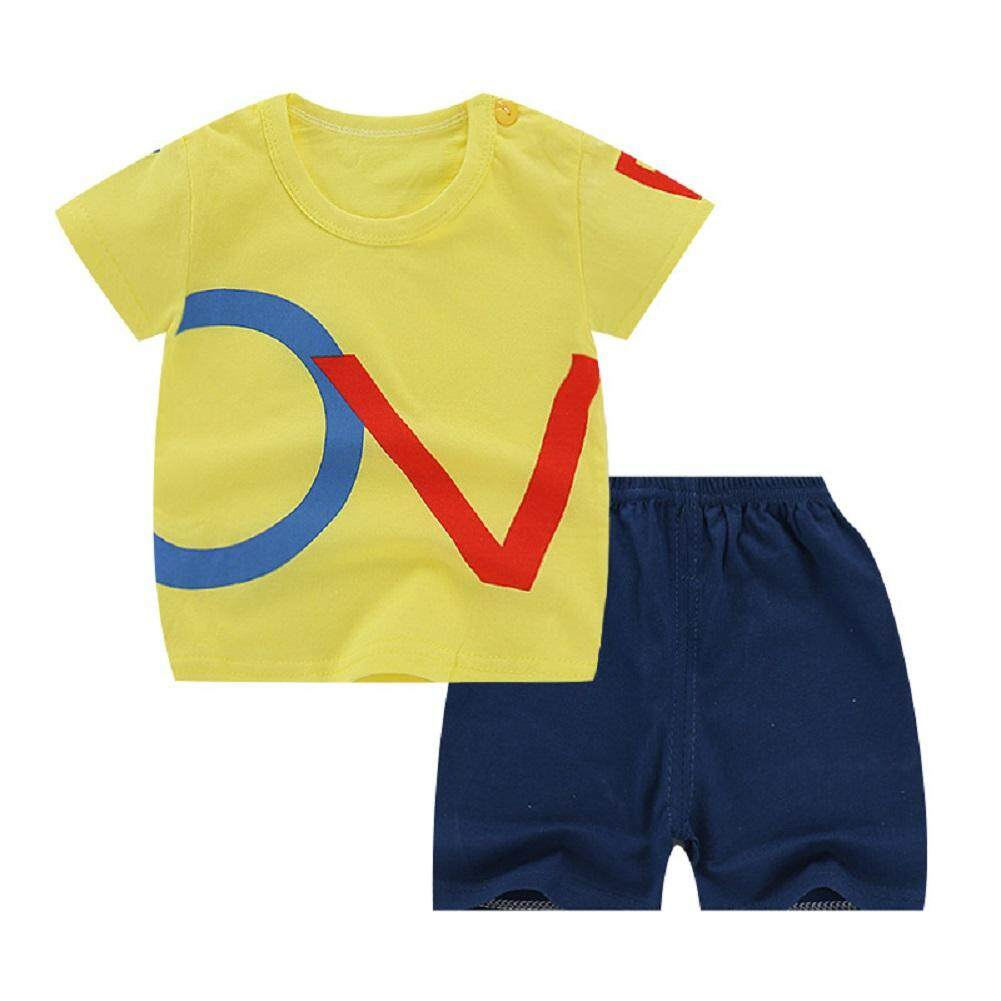 2pcs/set Unisex Children Home Suit Short Sleeve Tops+ Shorts Home Wear Suit