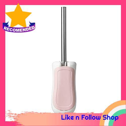 Wall-mounted Toilet Brush Set Stainless Steel Handle with Base Holder Toilet Cleaning Brushes Tool Bathroom Accessories (Pink)